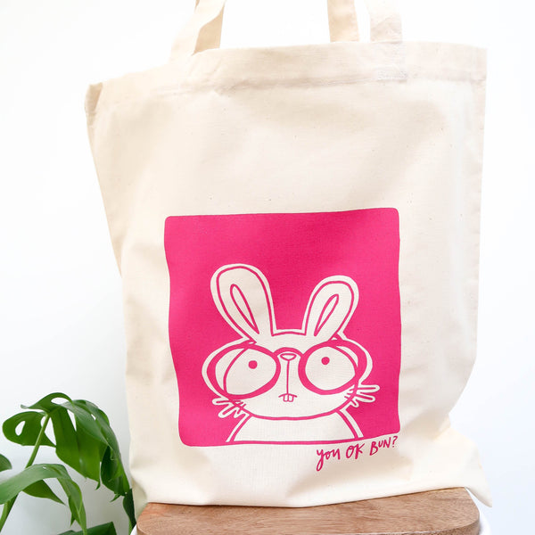 Bunny canvas bag • Pink bunny tote bag • Cotton tote shopper •Screenprinted tote bag - Hofficraft