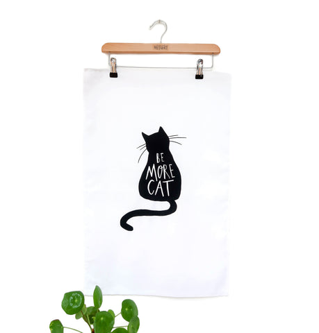 Cat tea towel • black cat tea towel • Be more cat - Hofficraft