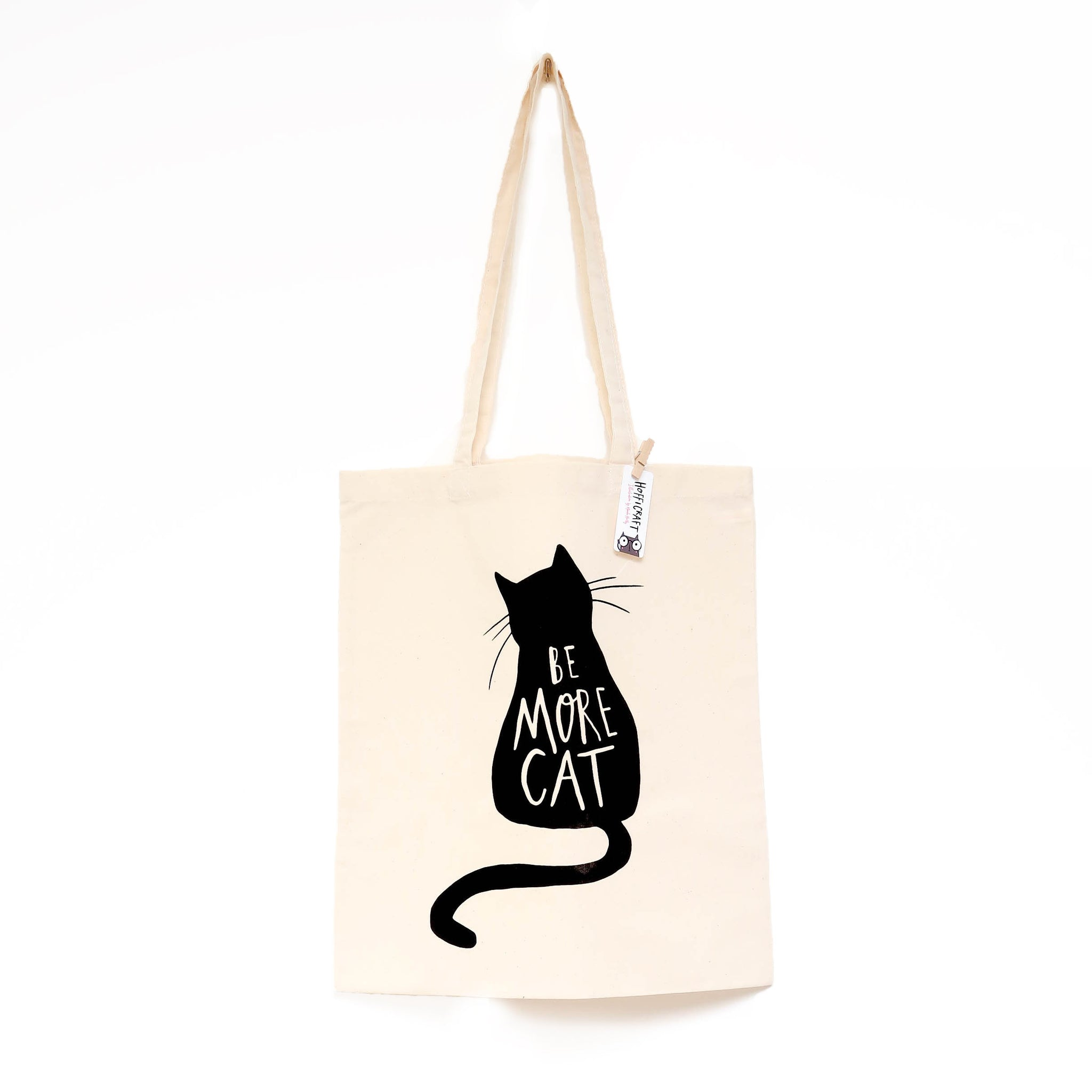 Be more cat tote bag • Cat bag • black cat bag • cat shopper - Hofficraft