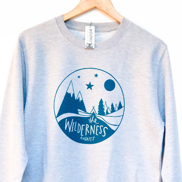 Wilderness Sweatshirt • Mountain sweater • Adventure Sweatshirt • Screen printed jumper - Hofficraft