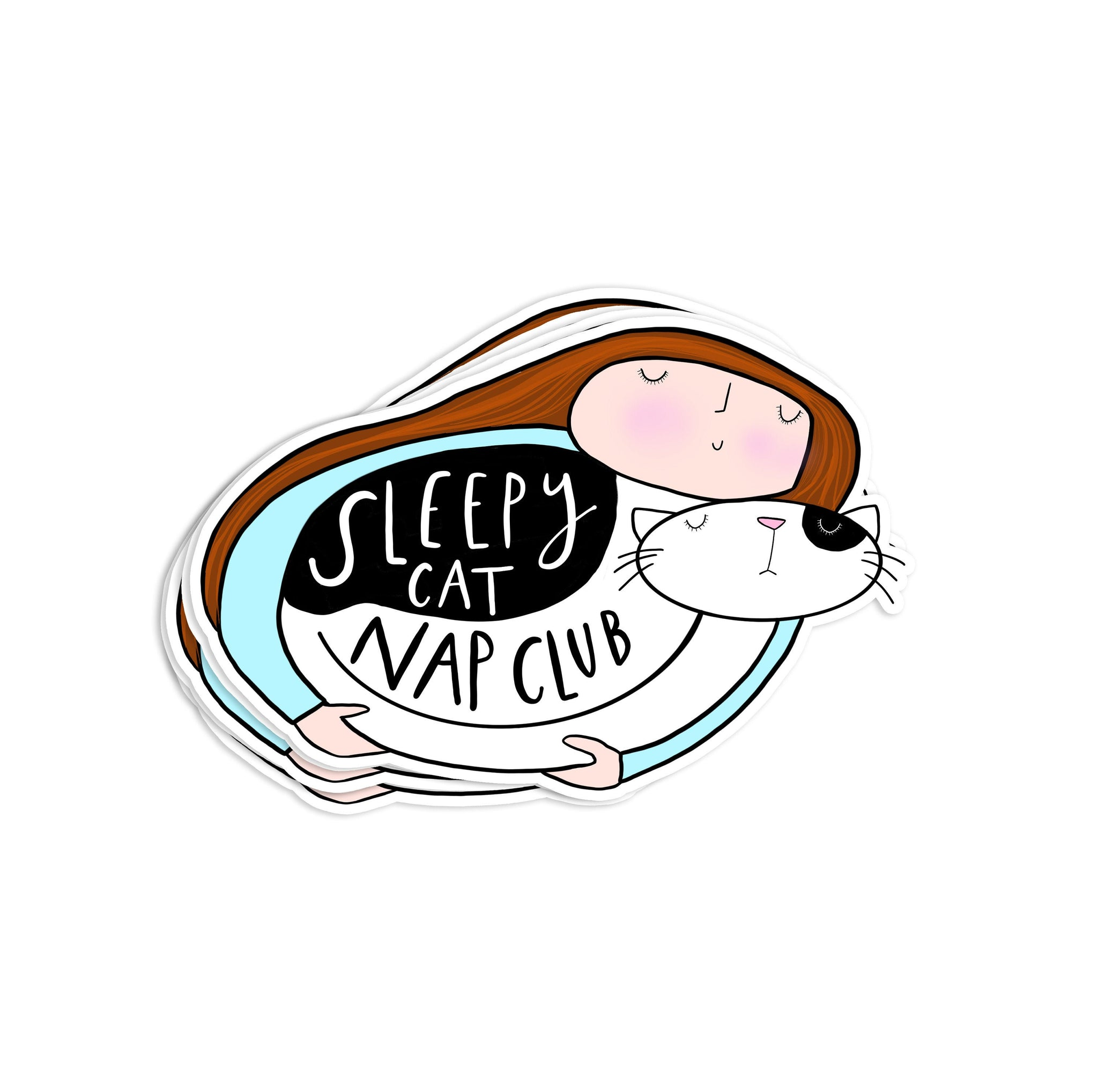 Sleepy cat laptop Sticker - Hofficraft