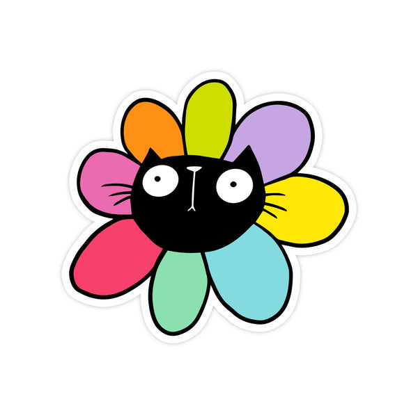 Black Cat flower sticker - Hofficraft