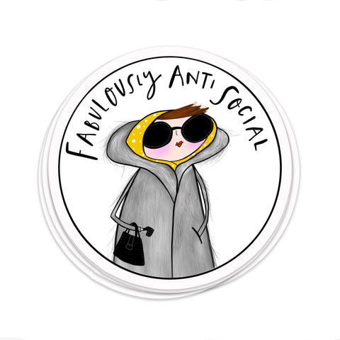Fabulously Anti social sticker • Anti social club • Introvert sticker - Hofficraft