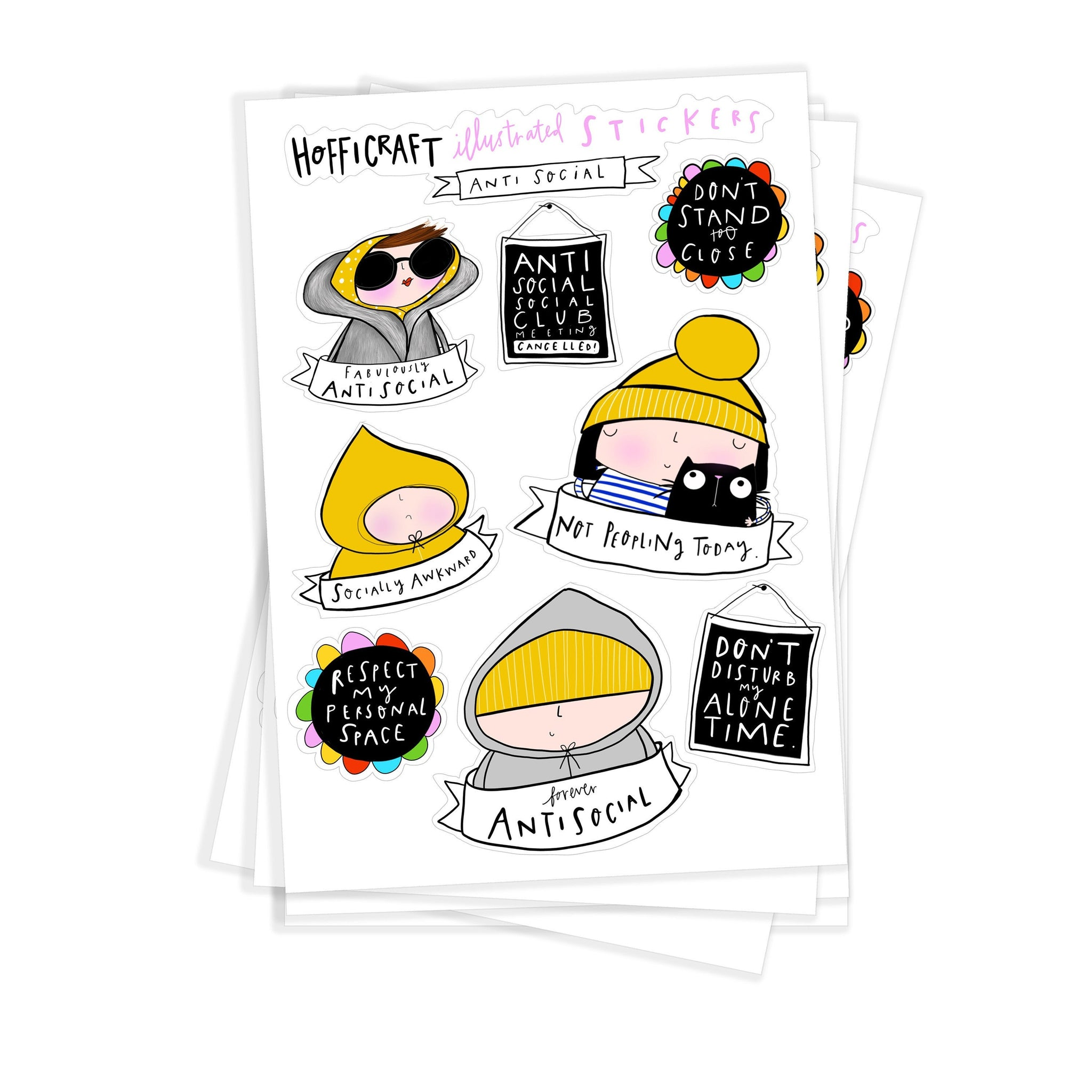 Anti social sticker sheet - Hofficraft