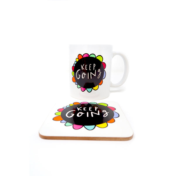 Rainbow mug and coaster