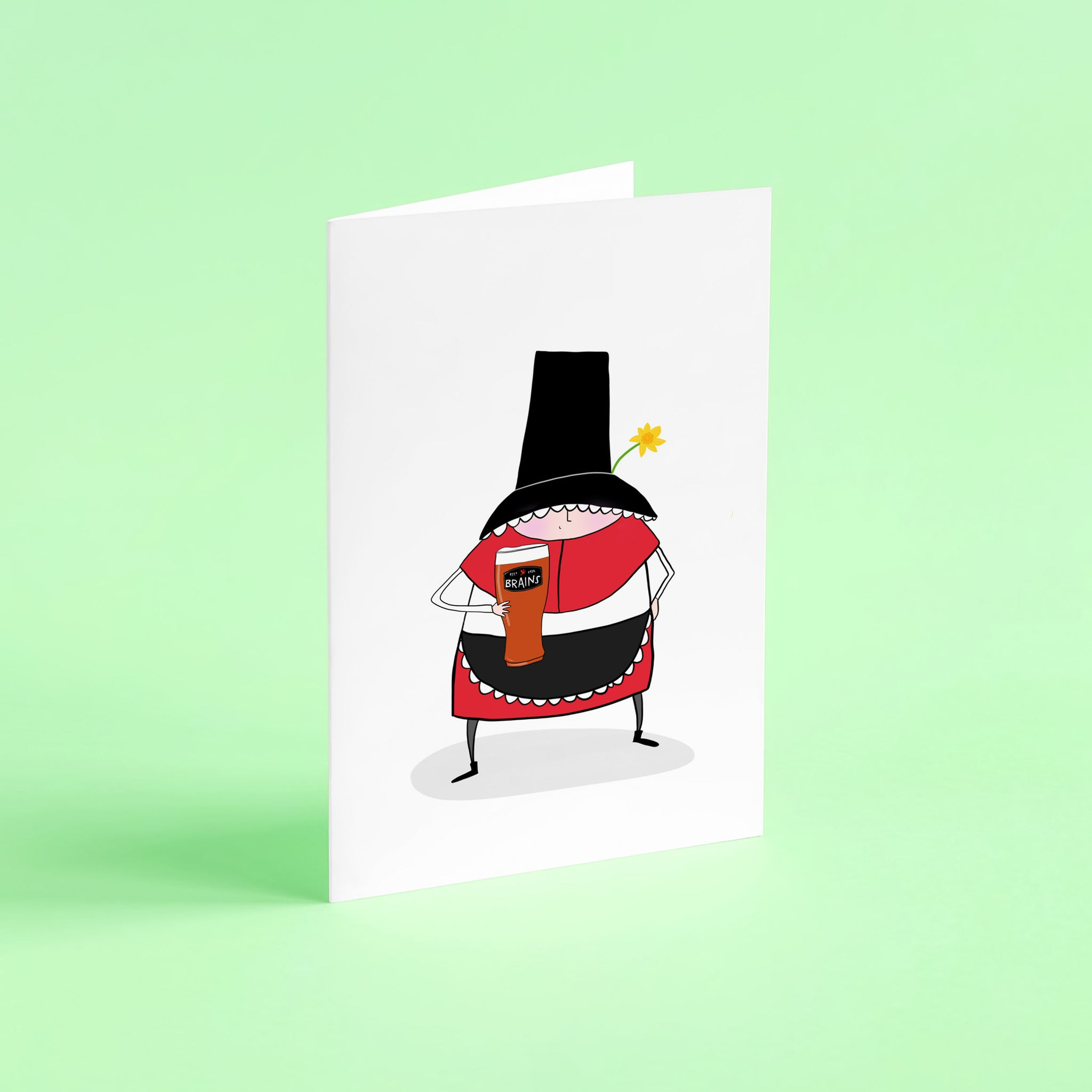 Welsh lady Brains card