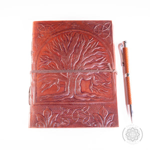 """TREE OF LIFE ""  Leather Journal with Stylish Pen"