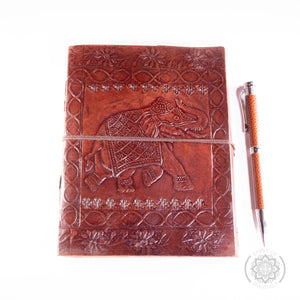 "Leather Journal ""Elephant Design"" with Stylish Pen"