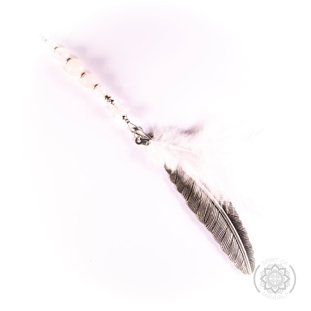 Rose Quartz  Crystal   White Feather