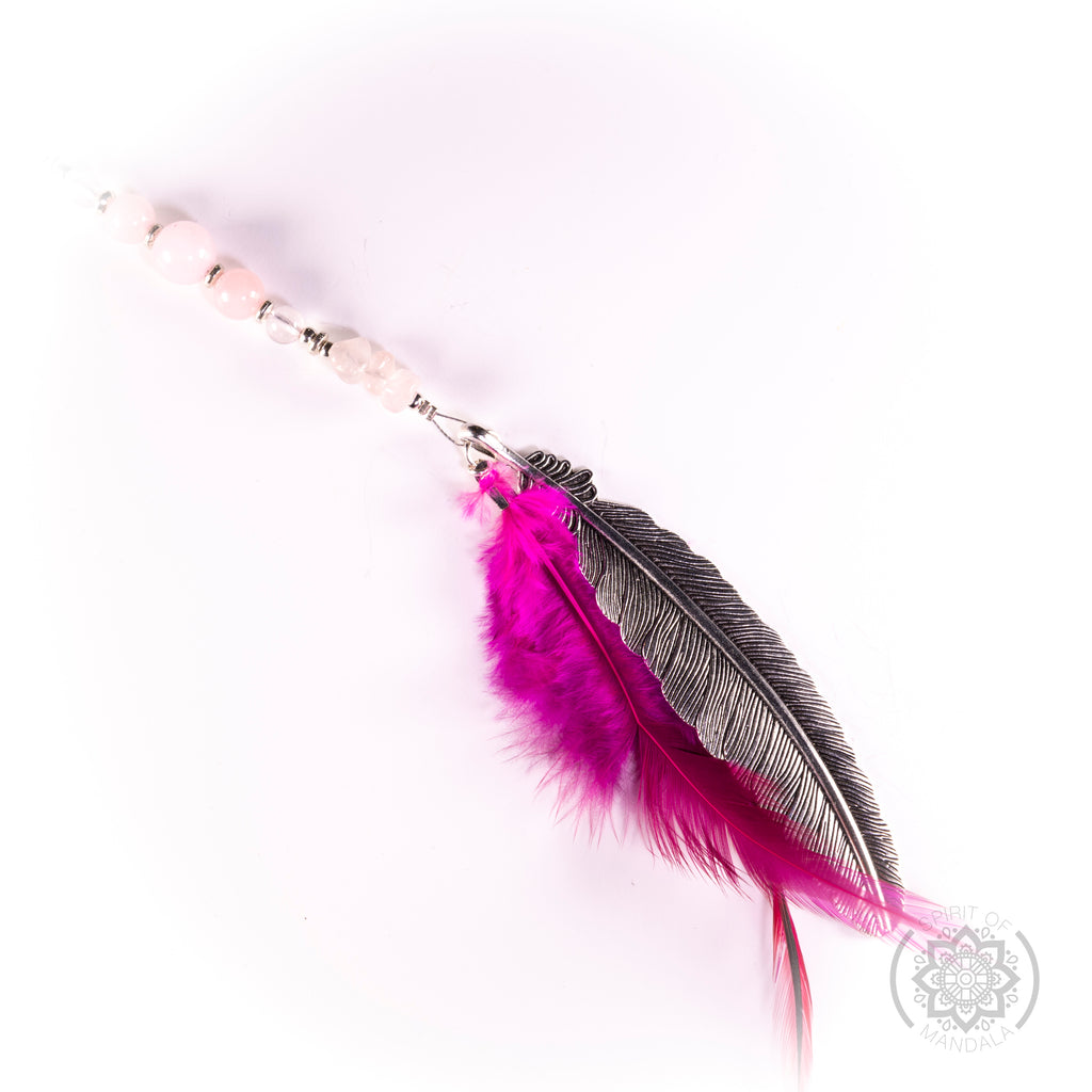 Rose Quartz Crystal   Hot Pink  Feather