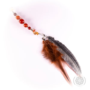 Carnelian Crystal  Brown Feather