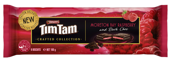 Arnott's Tim Tam MORETON BAY RASPBERRY and DARK Choc (New) - 160g