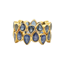 Load image into Gallery viewer, #81 Drop Ring Blue Sapphire L