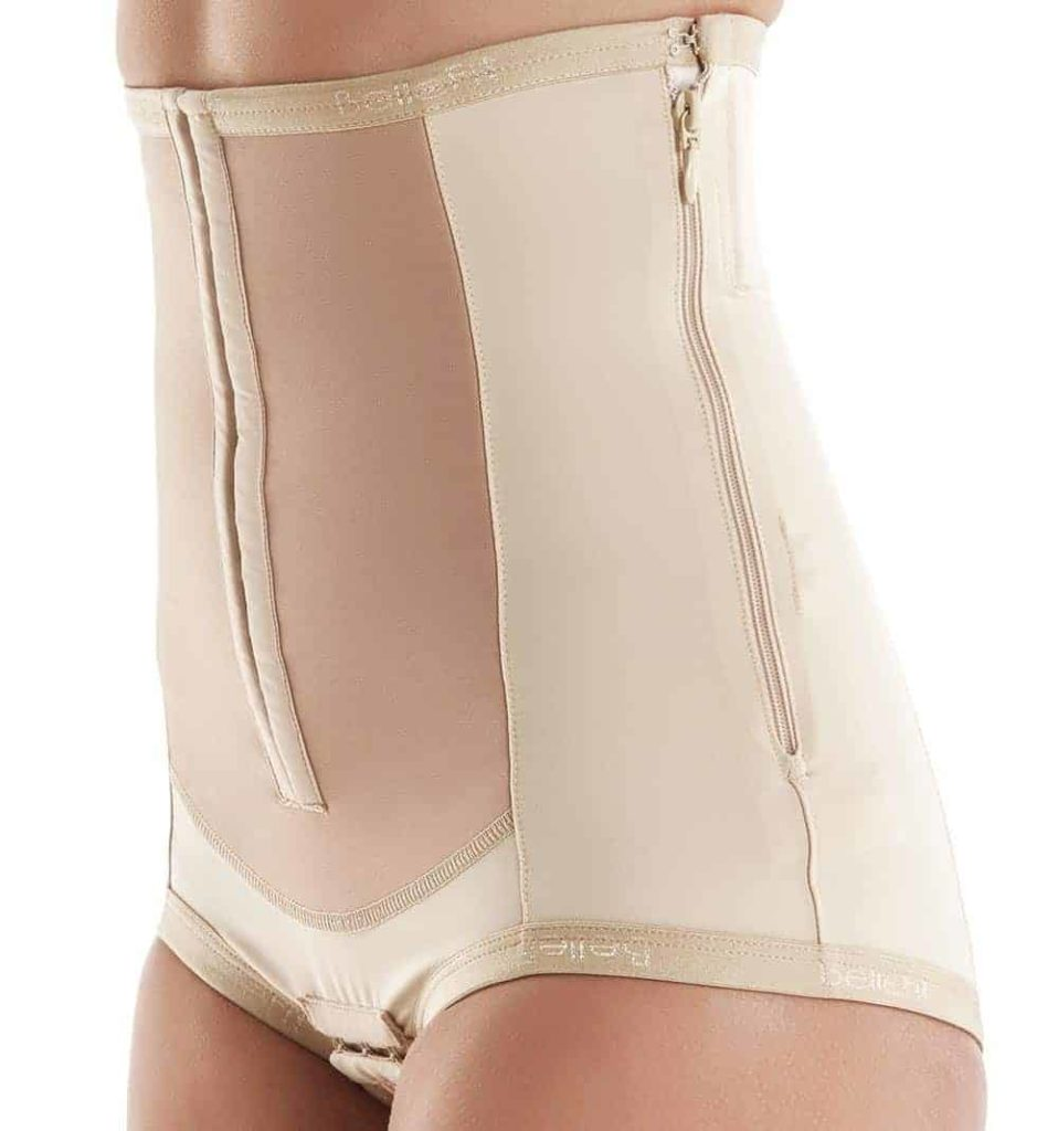 dual closure c-section girdle with hooks and side zipper