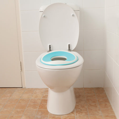 baby proofing your bathroom with a toilet seat so your toddler is safe when potty training.
