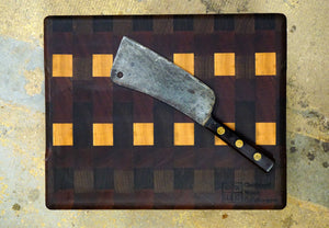 "Sapele/Walnut/Maple End Grain Cutting Board- 15 1/2"" X 12 1/2"""