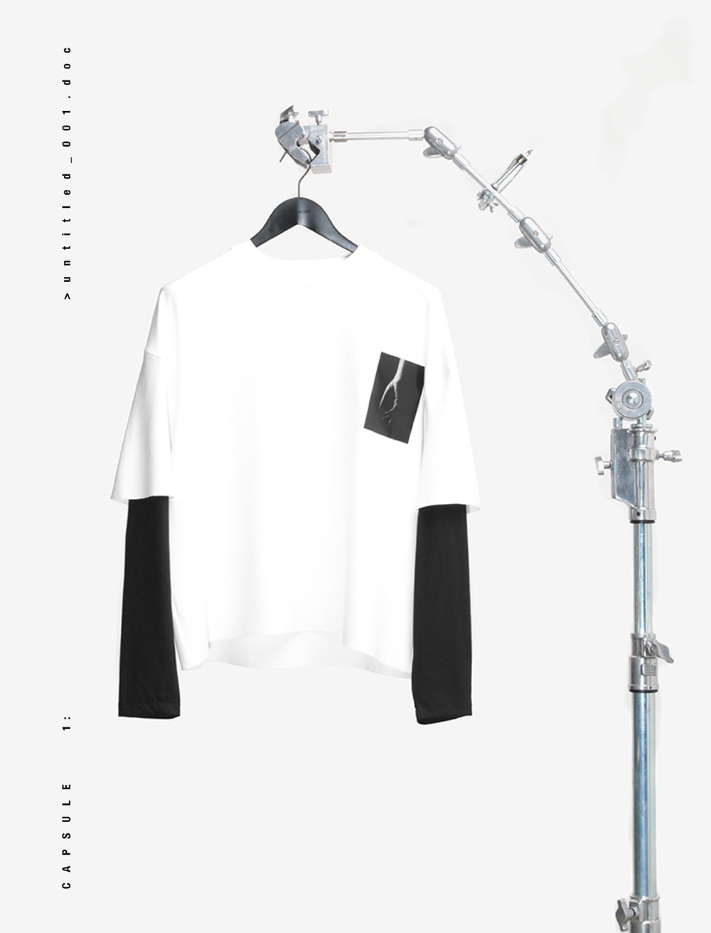 HEAVY LONG SLEEVE HANDS FRONT / DOUBLE LAYERED [WHITE/BLACK]