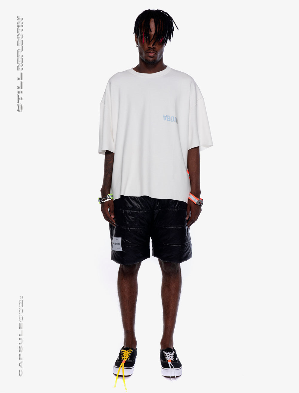OVERSIZED T_SHIRT // NEON REFLECTIVE STRAP [WHITE]