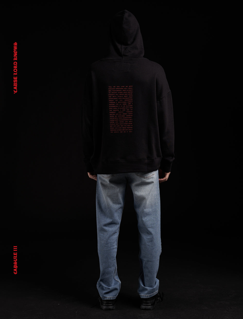SWEATSHIRT WITH A HOOD // RED MANIFEST BACK LOGO FRONT