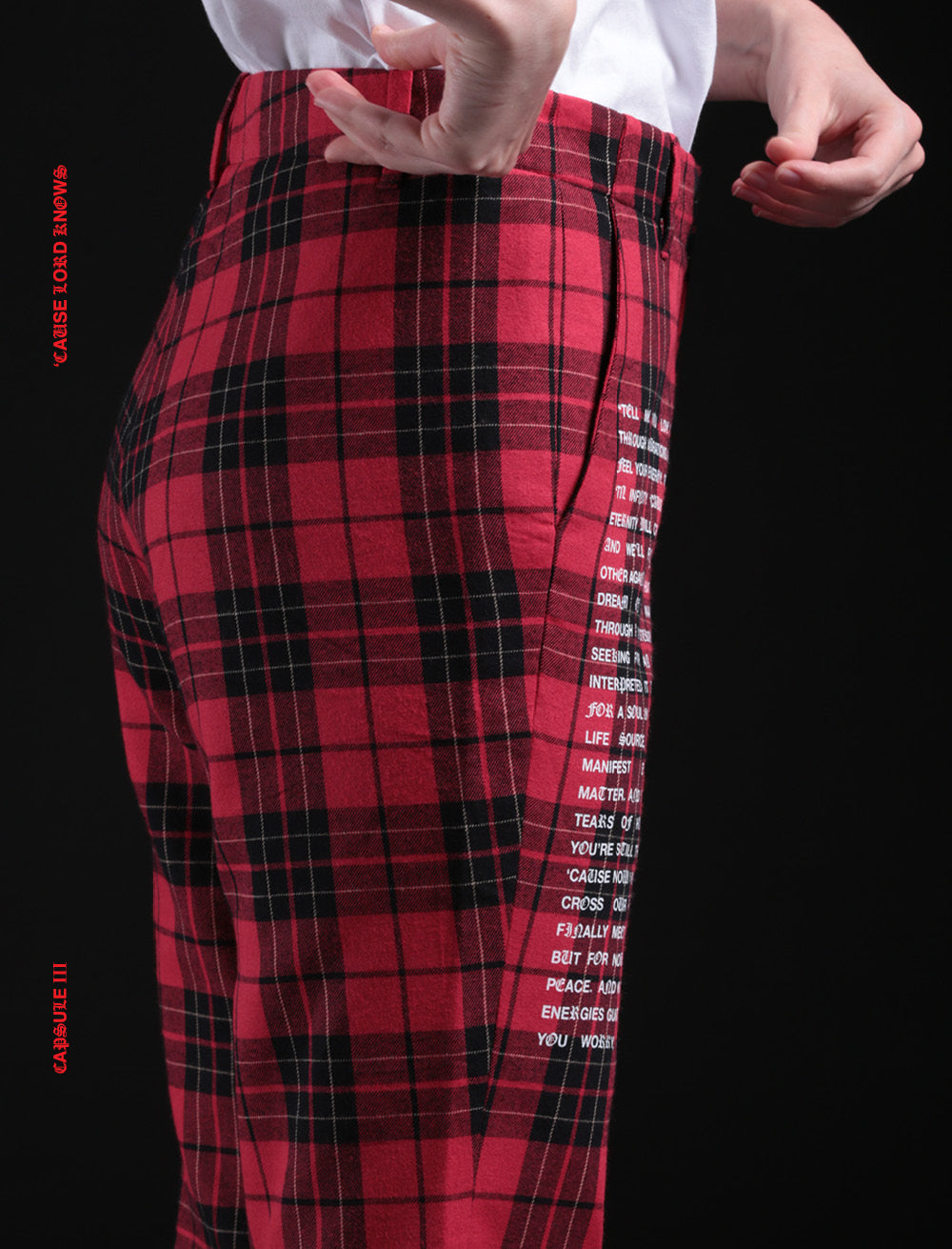 RED CHECK FLANNEL TROUSERS // WHITE MANIFEST