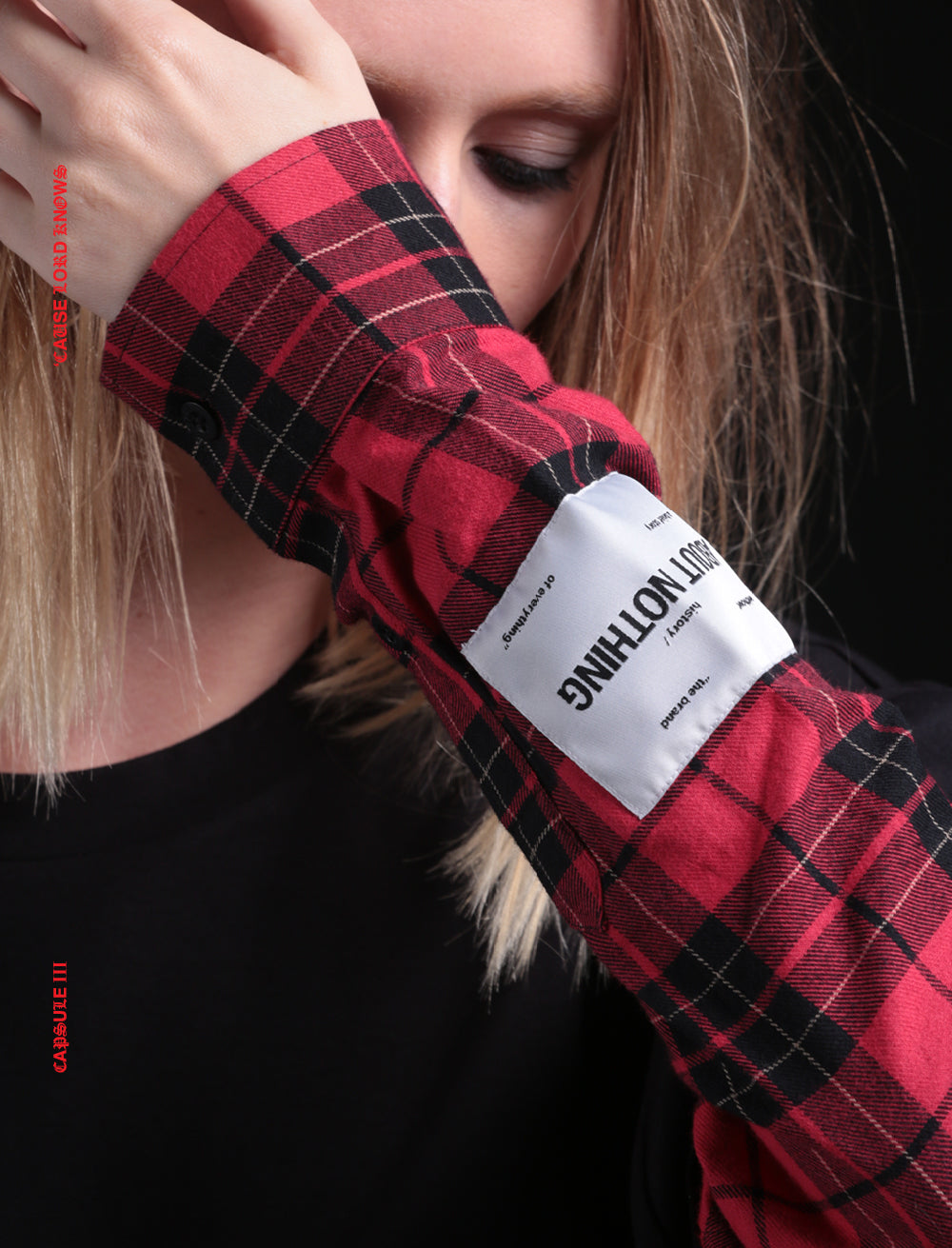 OVERSIZED LONG SLEEVE // FRONT POCKET AND DOUBLE LAYERED FLANNEL SLEEVE [RED/BLACK]