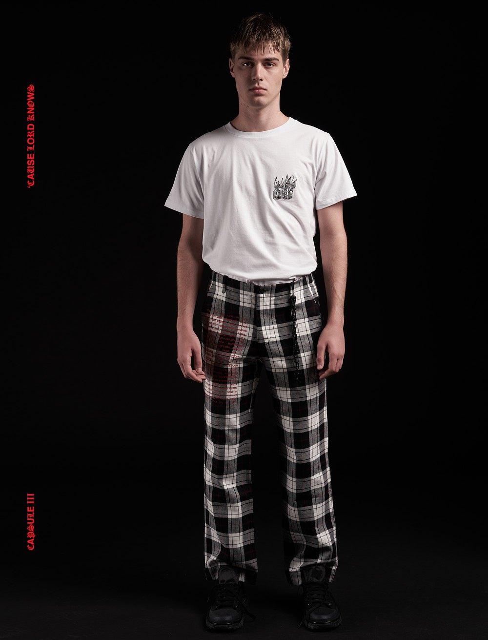 GREY CHECK FLANNEL TROUSERS // RED MANIFEST