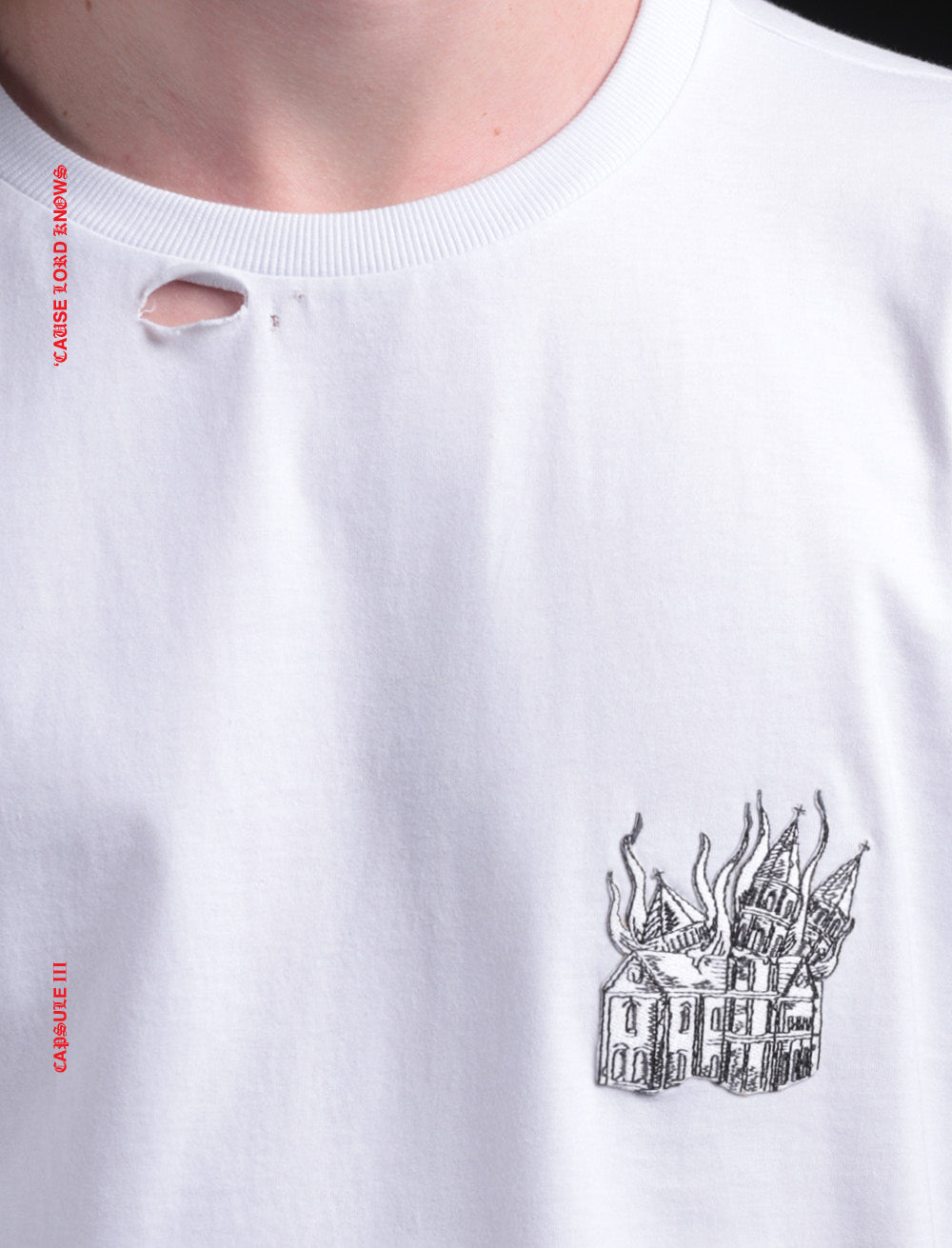 CATHEDRAL PATCH T_SHIRT [WHITE] // RIPPED COLLAR