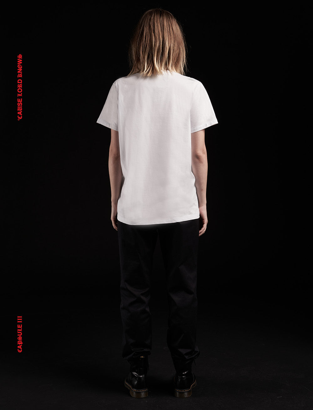 FIRE PATCH T_SHIRT [WHITE] // RIPPED COLLAR