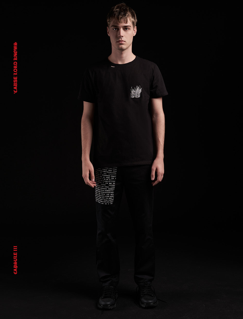 CATHEDRAL PATCH T_SHIRT [BLACK] // RIPPED COLLAR
