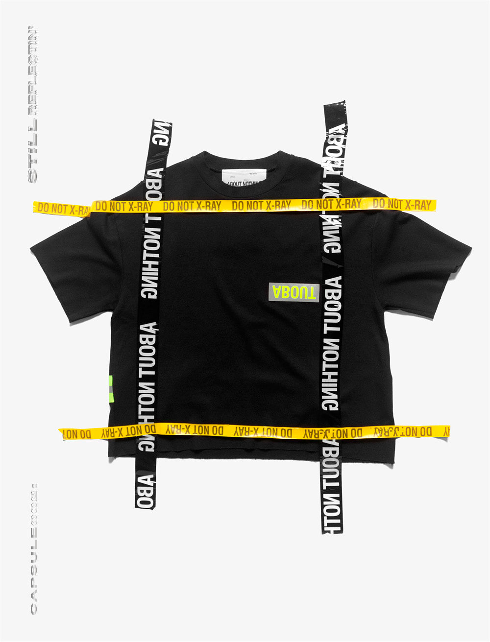 OVERSIZED T_SHIRT // NEON REFLECTIVE STRAP AND 'PLASTIC'  OVER LOGO [BLACK]