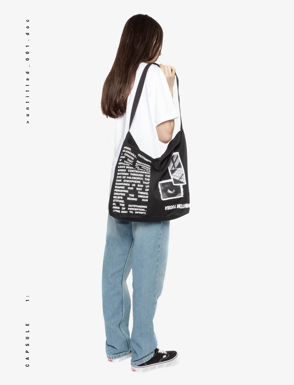 EYES AND SURROUNDINGS YOUTH MANIFEST TOTE BAG /  REVERSE LOGO BOTTOM