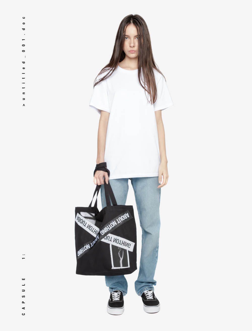 HANDS AND SURROUNDINGS TOTE BAG / CROSSED LABEL TAPE