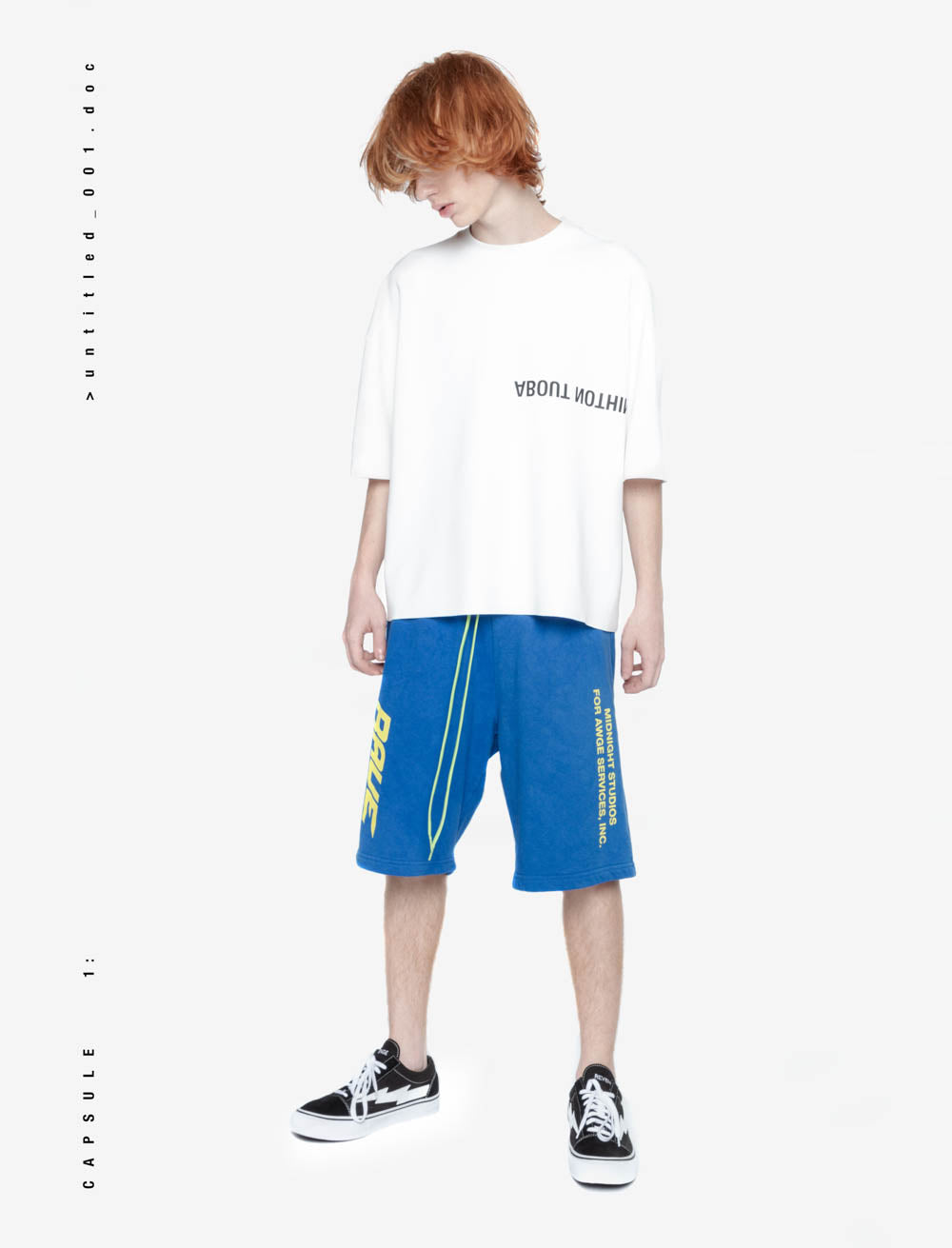 HEAVY OVERSIZED T_SHIRT / SURROUNDINGS SLEEVE LOGO FRONT [WHITE]