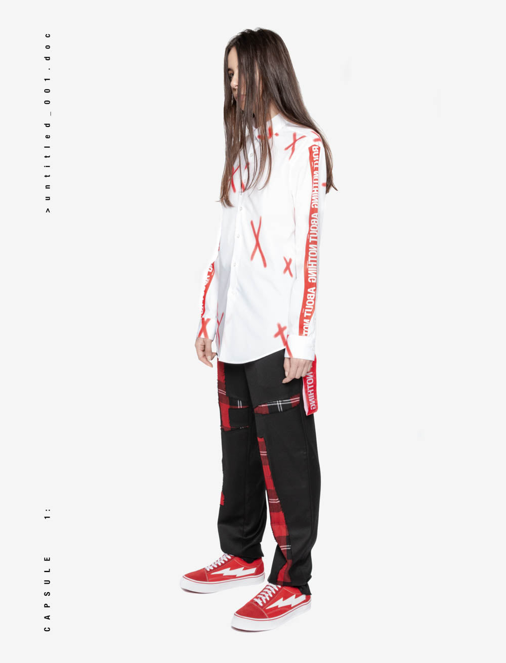 'X' SILK SCREEN SHIRT / RED TAPE SLEEVE