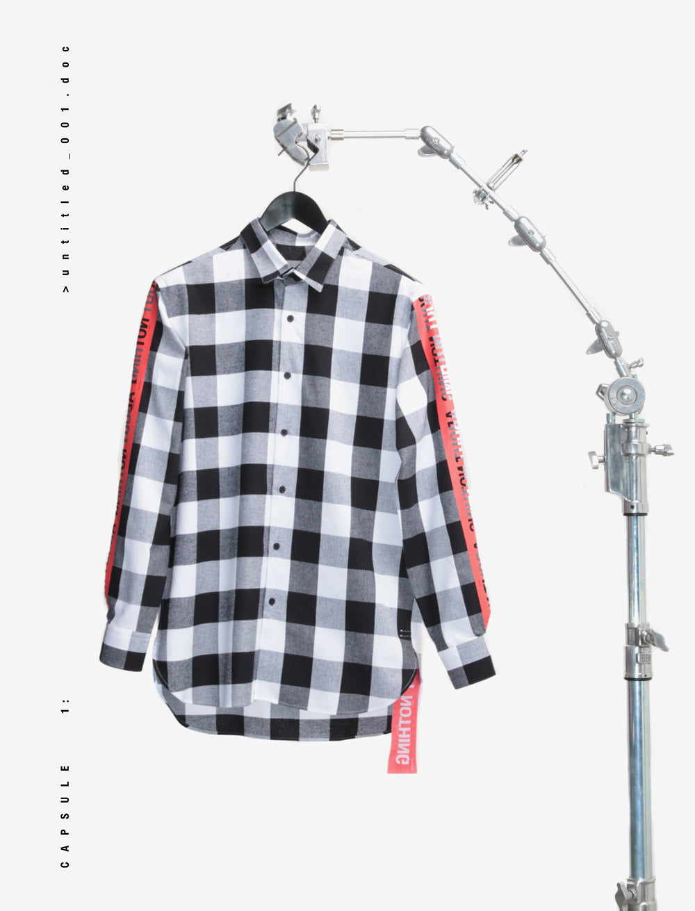 EYES BACK FLANNEL SHIRT / RED TAPE SLEEVE