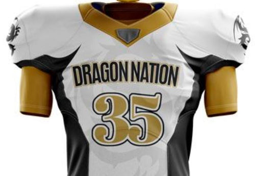 White Football Jersey (Gold numbers)