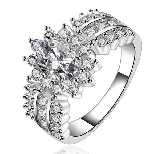 Silver Sunflower CZ Ring