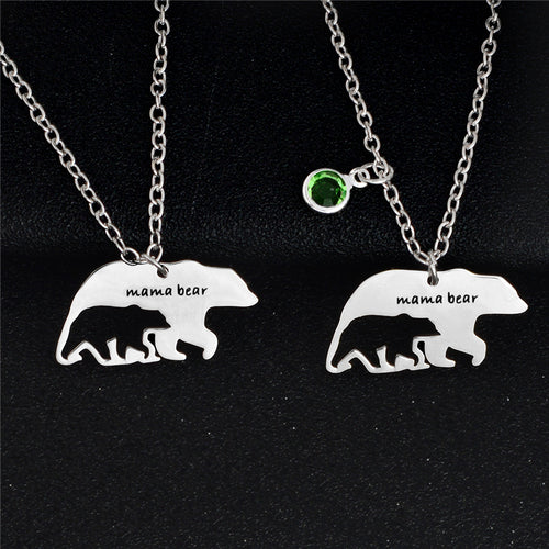 Mama Bear with Hollow Baby Bear Necklace