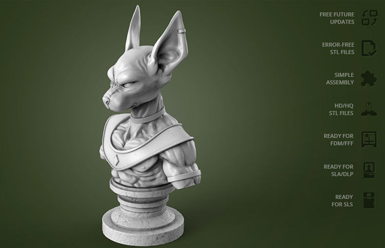 Beerus Dragon Ball 3D Printed Model Stl