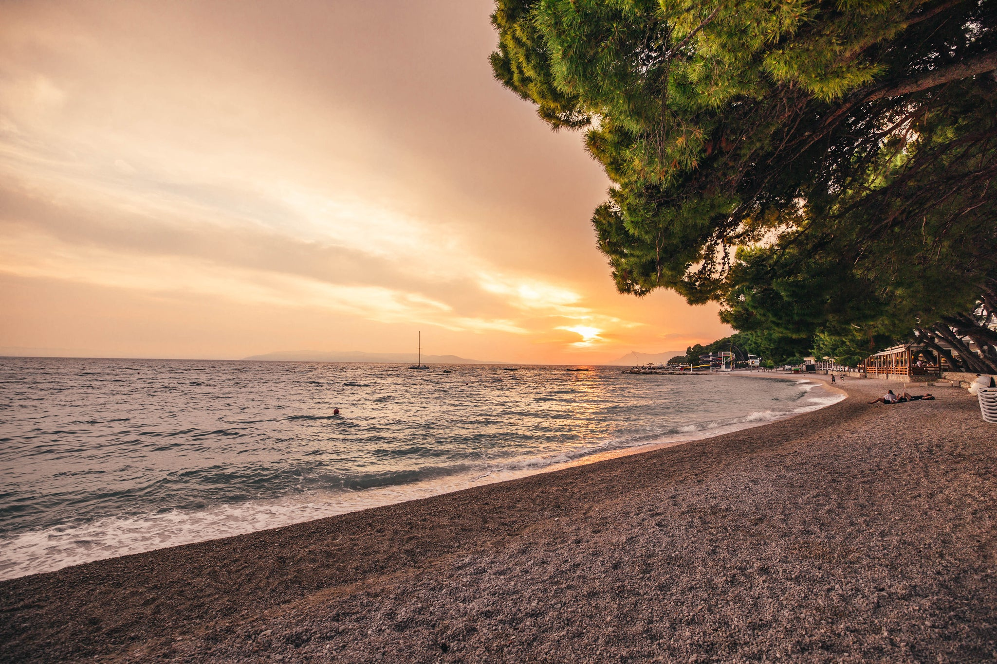 Makarska, Croatia sunset at beach