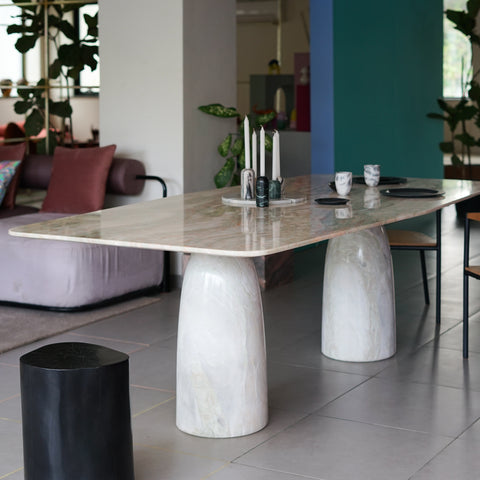 A handcrafted marble contemporary dining table