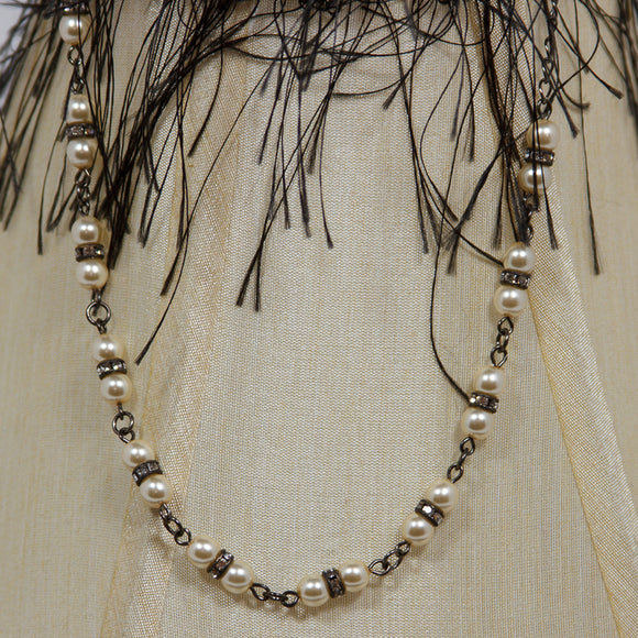 Necklace Vintage Pearl/Crystal Cool Water