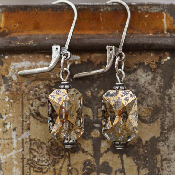 Earrings Glacier Lily Emerald Cut Leverback Cool Water