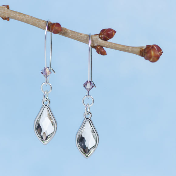 Earrings Lilac Blossom Crystal Settings Cool Water