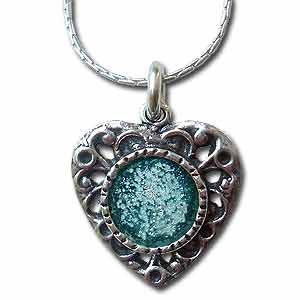 Necklace Sterling Silver and Roman Glass Heart Necklace by Michal Kirat