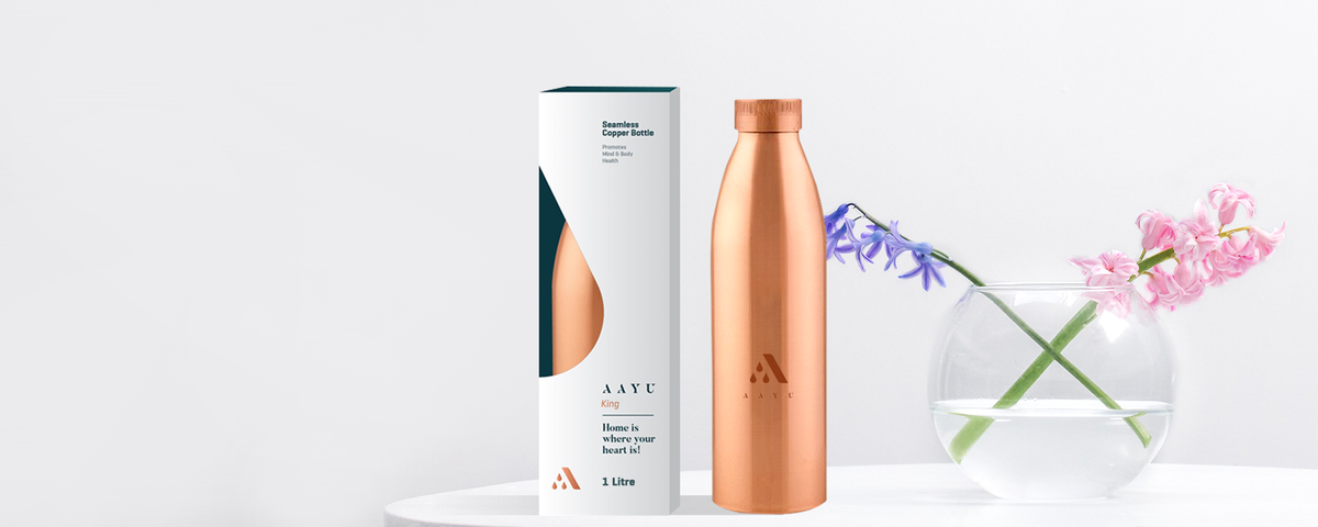 Aayu King 1 Ltr Copper Bottle