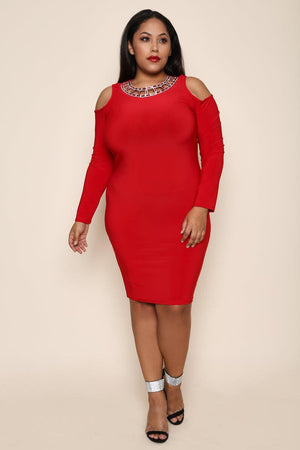 Red Fitted Body Contouring Dress