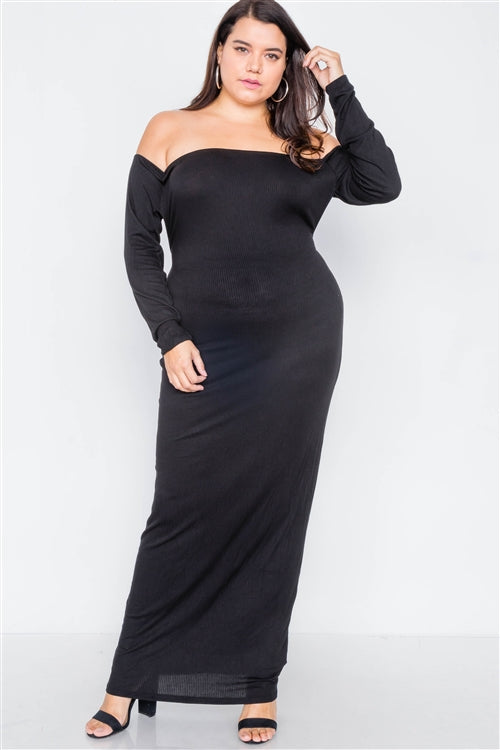 Ribbed Black Maxi Dress