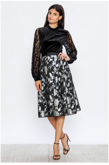 Pleated A-Line Skirt with Tinsel Flowers