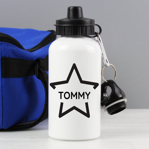 White aluminium Drinks bottle with Black star design personalised with name